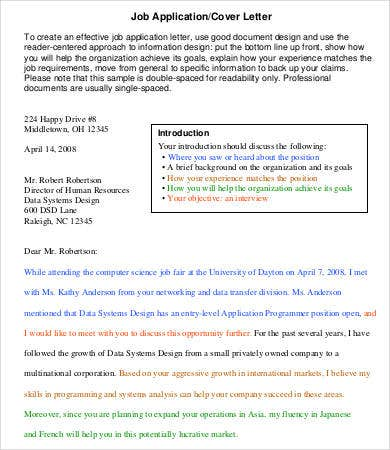 Cover letter single spaced